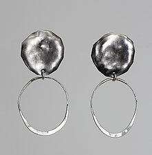 Oxidized Circles with Wire Hoops by John Siever (Silver Earrings)