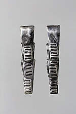 Oxidized and Textured Triple Small Trapezoids by John Siever (Silver Earrings)