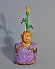 Cornstalk Boy by Elizabeth Frank (Wood Sculpture)