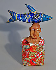 Bluefish Boy by Elizabeth Frank (Wood Sculpture)