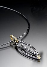 Midnight Marquise Spiral Necklace by Danielle Miller (Gold, Silver & Stone Necklace)