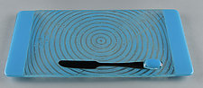Small ColorCentric Blue Serving Plank by Terry Gomien (Art Glass Tray)