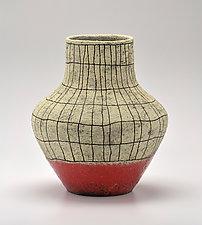Flared Crosshatch Vase in Orange by Boyan Moskov (Ceramic Vase)