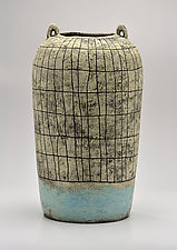 Tall Crosshatch Jar in Blue by Boyan Moskov (Ceramic Vase)