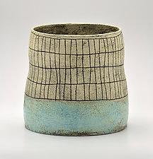 Wide Crosshatch Vase in Blue by Boyan Moskov (Ceramic Vase)