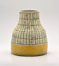 Flared Crosshatch Vase in Yellow by Boyan Moskov (Ceramic Vase)
