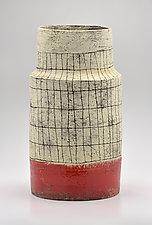 Tapered Crosshatch Vase in Orange by Boyan Moskov (Ceramic Vase)
