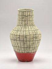 Tall Flared Crosshatch Vase in Orange by Boyan Moskov (Ceramic Vase)