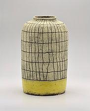 Crosshatch Jar in Yellow by Boyan Moskov (Ceramic Vase)
