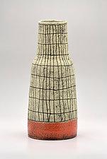 Narrow Tapered Crosshatch Vase in Orange by Boyan Moskov (Ceramic Vase)