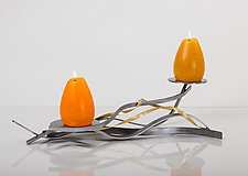 Golden Twist Double Candle by Ken Girardini and Julie Girardini (Metal Candleholder)