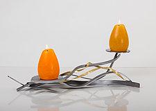 Golden Twist Double Candle by Ken Girardini and Julie Girardini (Metal Candleholder)