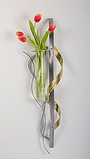 Twist Wall Vase / Candleholder by Ken Girardini and Julie Girardini (Metal Wall Vase)