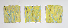 A Splash of Yellow Triptych by Kristi Sloniger (Ceramic Wall Sculpture)