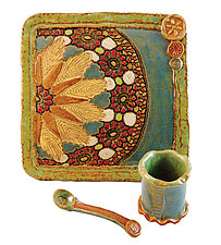 Apple and Honey Set by Laurie Pollpeter Eskenazi (Ceramic Serving Set)