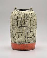 Tall Crosshatch Jar in Orange by Boyan Moskov (Ceramic Vase)