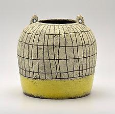 Crosshatch Basket Vase in Yellow by Boyan Moskov (Ceramic Vase)