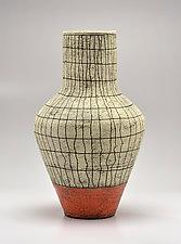 Tall Flared Crosshatch Vase in Orange II by Boyan Moskov (Ceramic Vase)