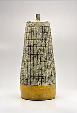 Conical Crosshatch Lidded Vessel in Yellow by Boyan Moskov (Ceramic Vessel)