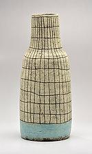 Narrow Tapered Crosshatch Vase in Blue by Boyan Moskov (Ceramic Vase)