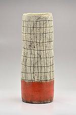 Cylindrical Crosshatch Vase in Orange by Boyan Moskov (Ceramic Vase)
