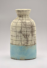 Flared Lip Crosshatch Vase in Blue by Boyan Moskov (Ceramic Vase)