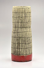 Cylindrical Crosshatch Vase in Orange II by Boyan Moskov (Ceramic Vase)