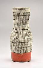 Cinched Crosshatch Vase in Orange by Boyan Moskov (Ceramic Vase)