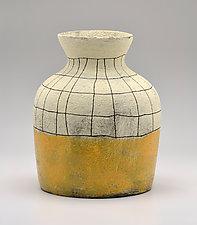 Short Flared Lip Crosshatch Vase in Yellow by Boyan Moskov (Ceramic Vase)