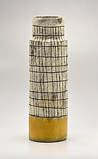 Narrow Tapered Crosshatch Vase in Yellow by Boyan Moskov (Ceramic Vase)