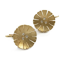 Flower Ear Wire in 18k with 6 Diamonds by Catherine Iskiw (Gold & Stone Earrings)
