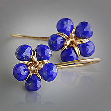 Lapis Blooms in 14k Gold by Wendy Stauffer (Gold & Stone Earrings)