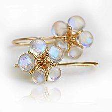 Rainbow Moonstone Blooms in 14k Gold by Wendy Stauffer (Gold & Stone Earrings)