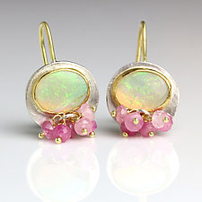 Australian Opal Dangles with Pink Sapphires by Wendy Stauffer (Gold, Silver & Stone Earrings)