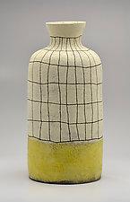 Crosshatch Vase in  Yellow by Boyan Moskov (Ceramic Vase)