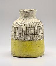 Flared Lip Crosshatch Vase in Yellow II by Boyan Moskov (Ceramic Vase)