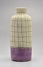 Flared Lip Crosshatch Vase in Purple by Boyan Moskov (Ceramic Vase)