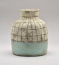 Low Flared Lip Crosshatch Vase in Blue by Boyan Moskov (Ceramic Vase)