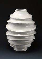Camille Carved Undulating Vessel by Judi Tavill (Ceramic Vessel)