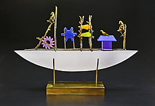 White Monkey Boat II by Georgia Pozycinski and Joseph Pozycinski (Art Glass & Bronze Sculpture)