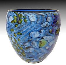 Blue Riverbed Bowl by Thomas Philabaum (Art Glass Bowl)