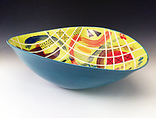 Chartreuse Contour Elliptical Bowl by Jean Elton (Ceramic Bowl)