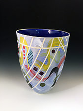 Sky Blue Tall Vase with Banded Contours by Jean Elton (Ceramic Vase)