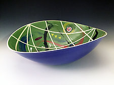 Olive Contours Elliptical Bowl by Jean Elton (Ceramic Bowl)