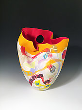 Sculpted Red Interior Tall Vase by Jean Elton (Ceramic Vase)