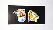 Multicolored Ceramic Wall Art Diptych by Jean Elton (Ceramic Wall Sculpture)