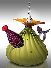 Garden Variety Teapot in Olive by Bob Kliss and Laurie Kliss (Art Glass Teapot)