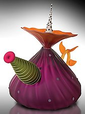 Garden Variety Teapot in Hyacinth by Bob Kliss and Laurie Kliss (Art Glass Teapot)
