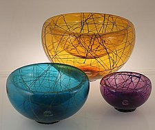 Birds Nest Bubble Bowl by Cristy Aloysi and Scott Graham (Art Glass Bowl)