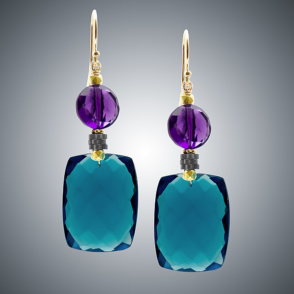 London Blue Quartz & Amethyst Earrings